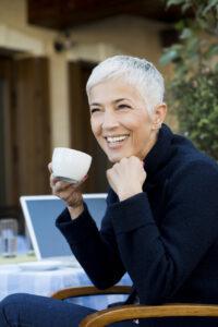 Mature woman short white hair